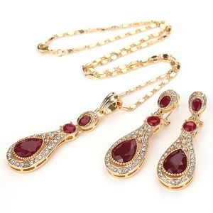 Ruby & Cubic Zirconia Necklace Set RGBB